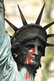 france liberty vandalized